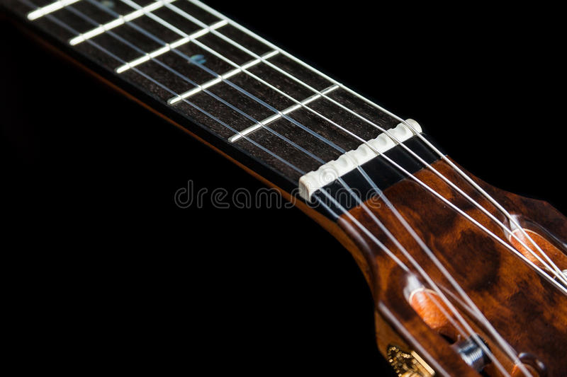 Classical guitar acoustic made by luthier Luciano Queiroz. Brazil royalty free stock images
