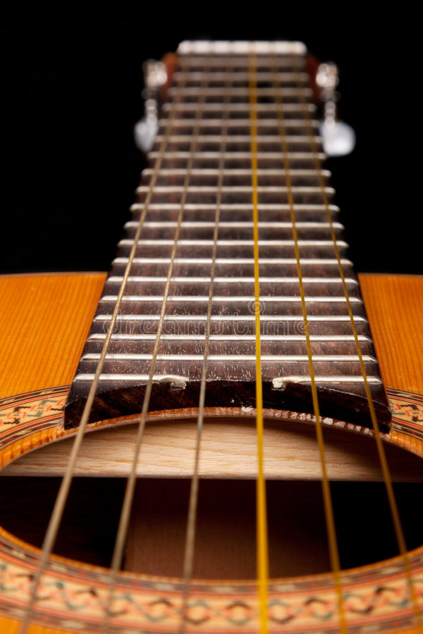 Free Classical Guitar Close Up On Dark Royalty Free Stock Photography - 9255517