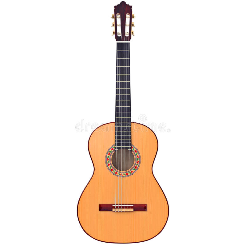 Classical guitar, front view vector illustration