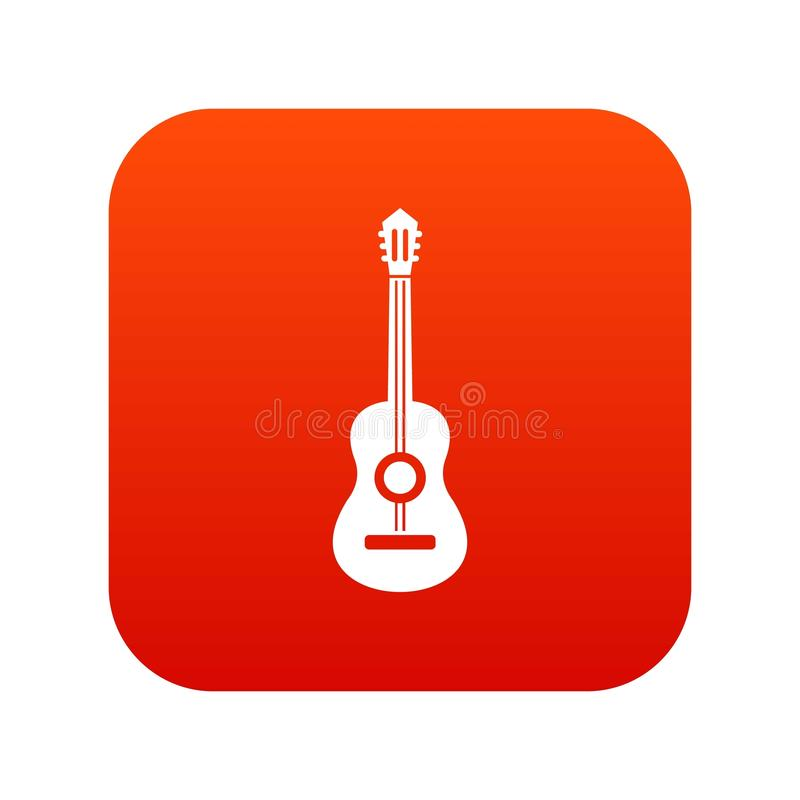 Classical guitar icon digital red. For any design isolated on white vector illustration stock illustration