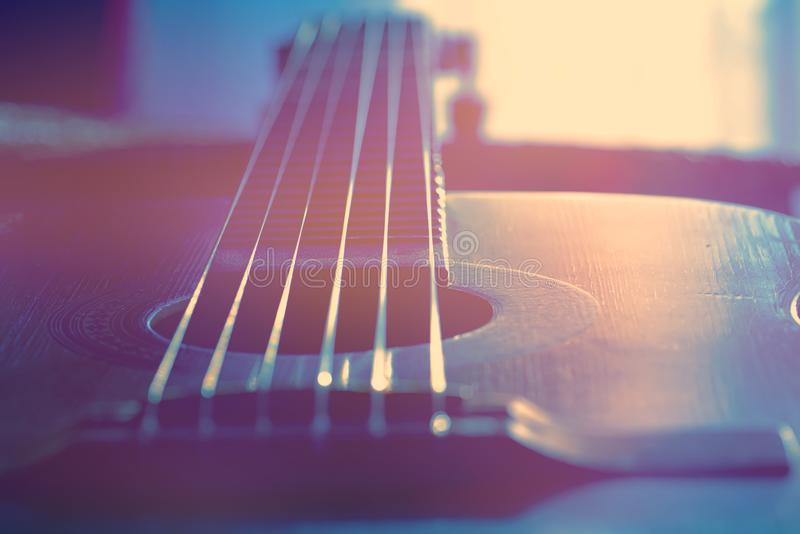 Classical guitar instrument. Classical guitar. Shallow depth of field royalty free stock images