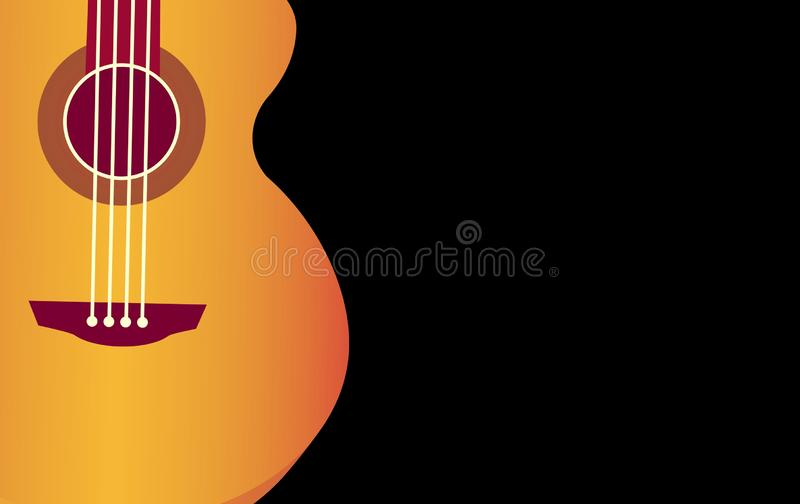 Classical guitar wallpaper isolated on black background for poster design. Graphic, brown, wooden, cartoon, sound, play, music, jazz, creative, concept, object stock photo