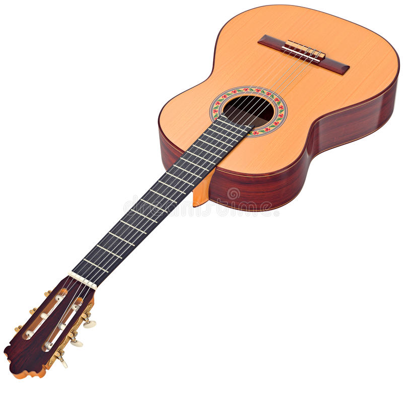 Classical guitar wooden professional royalty free illustration