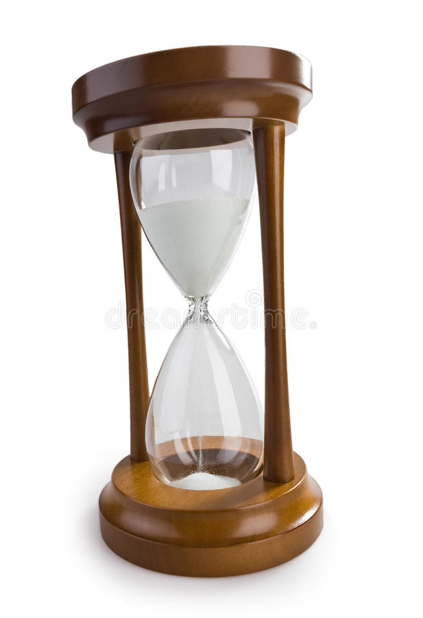 Classical hourglass isolated on white stock images
