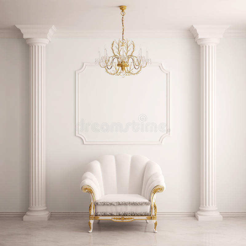 Classical interior with an armchair stock illustration