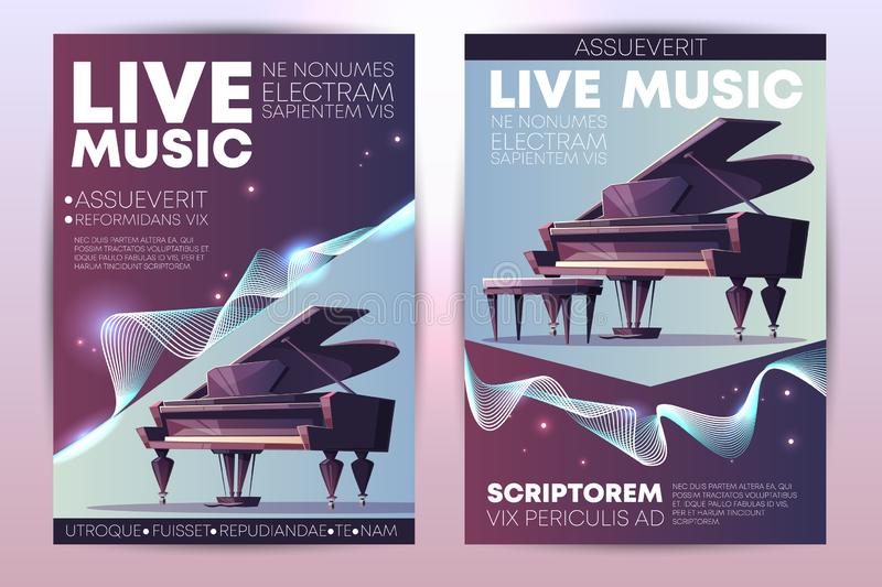 Live music concert promo brochure vector template. Classical or jazz music festival, symphonic orchestra live concert, piano virtuoso performance modern design royalty free illustration
