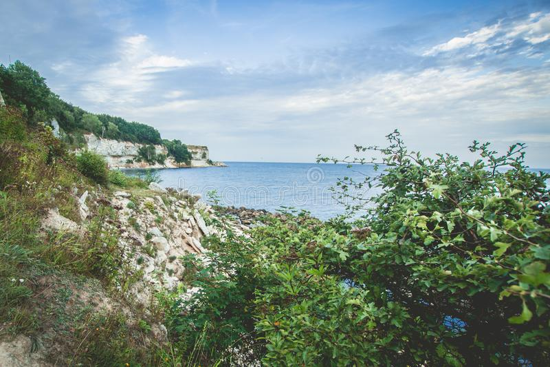 Cliffs in Denmark stock photography