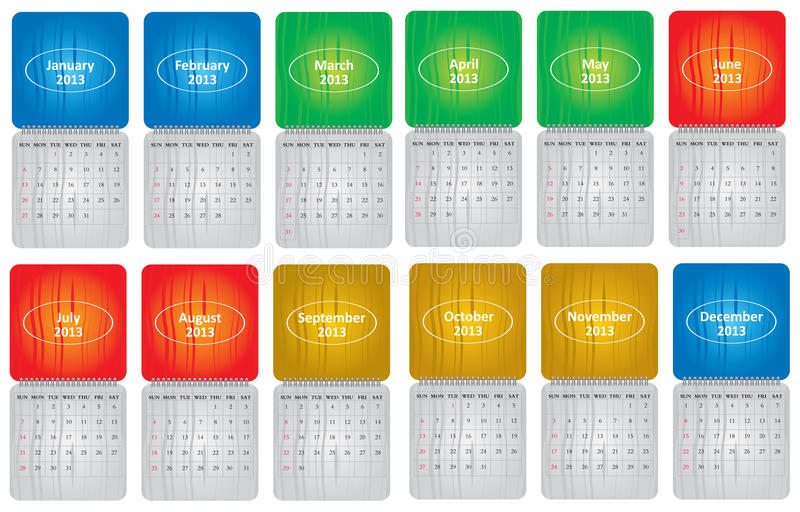 Classical Monthly Calendar For 2013 Royalty Free Stock Photos