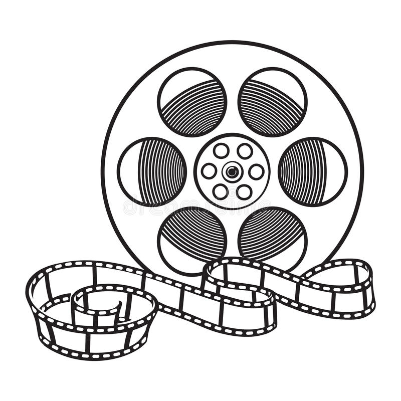 Classical motion picture, cinema film reel, sketch style vector illustration vector illustration