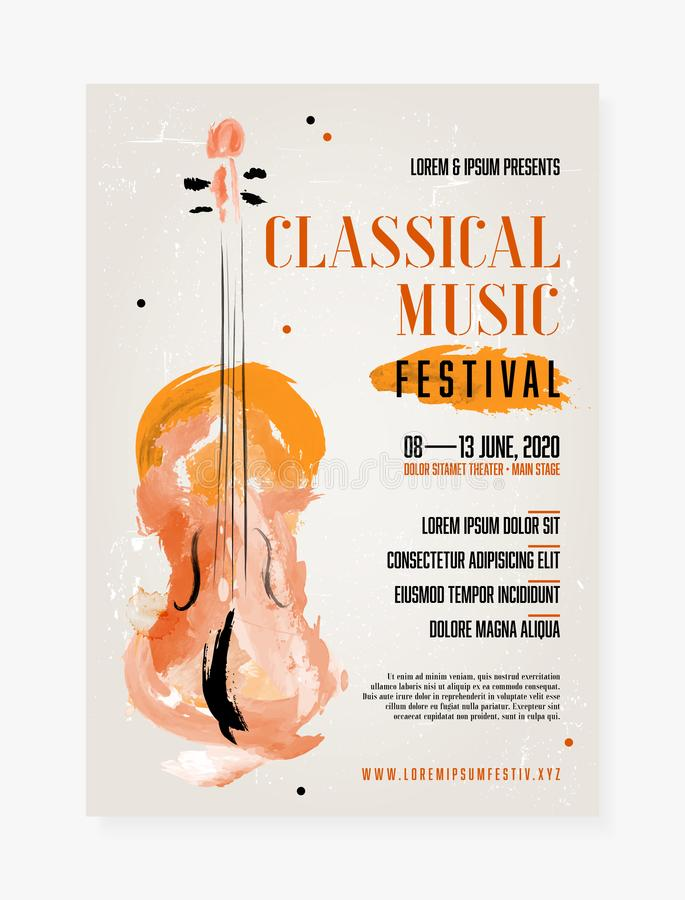 Classical music festival poster template. With grungy background and abstract watercolor viol - vector illustration vector illustration