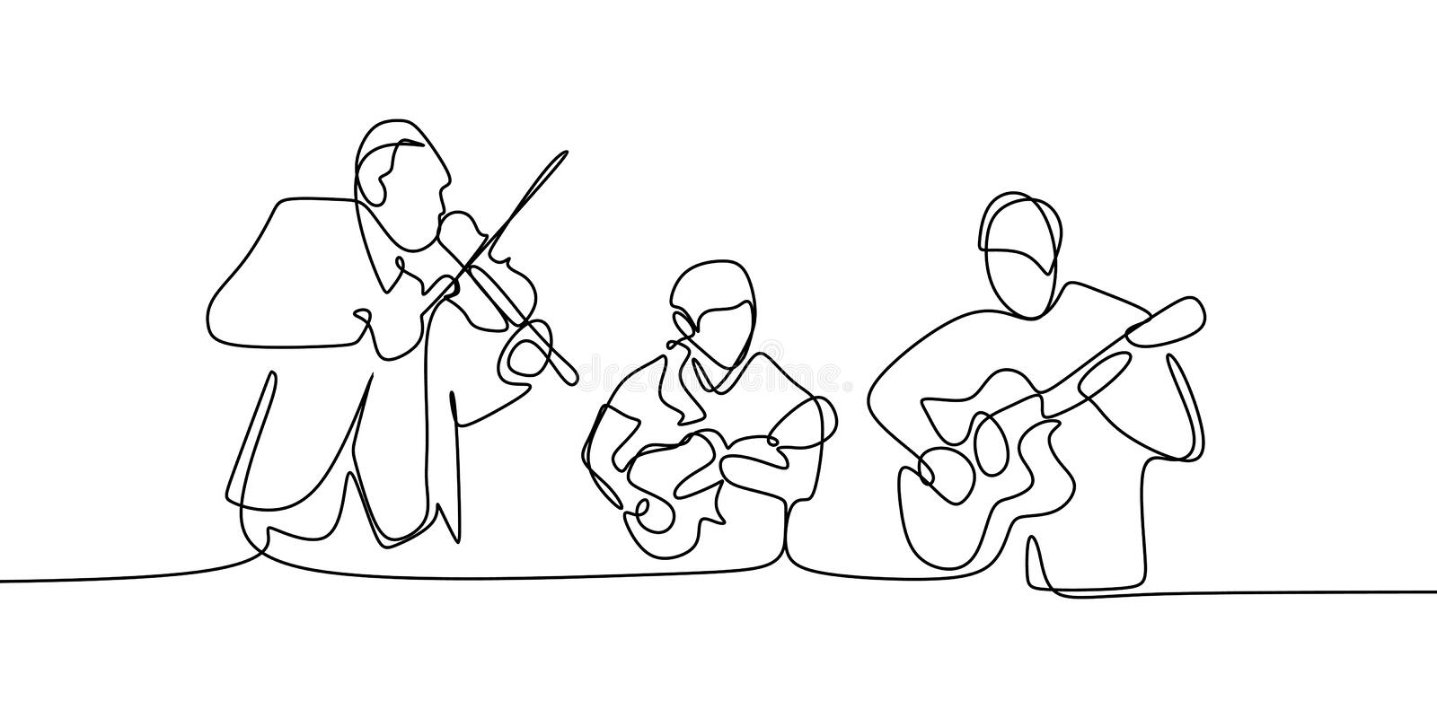 Classical music jazz players continuous one line drawing group of people playing instruments. Drawn outline man business musician creative saxophone concept stock illustration