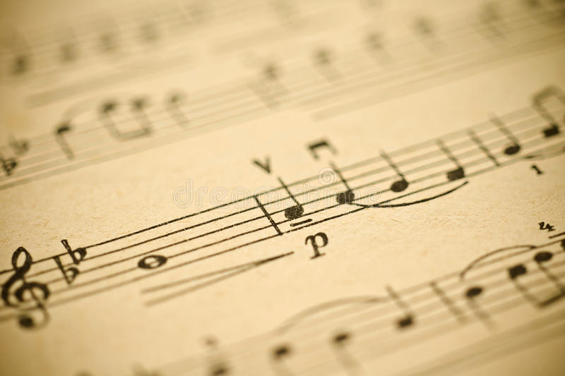 Classical music -notes on yellowed vintage paper