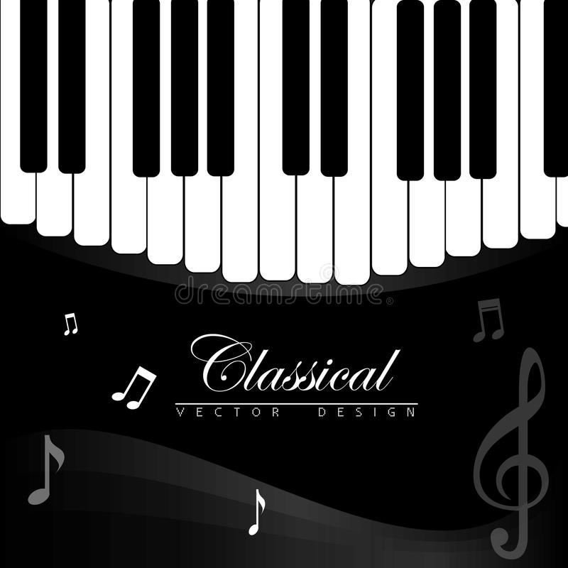 Classical music. Over piano background vector illustration royalty free illustration