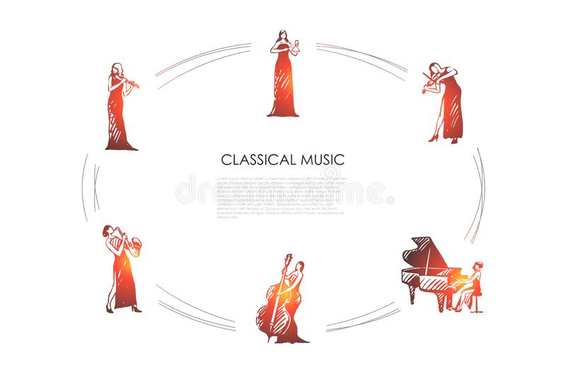 Classical music - women musicians playing flute, saxophone, cello, piano, violin, bell vector concept set. Hand drawn sketch isolated illustration vector illustration