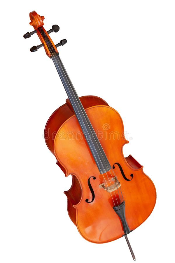 Classic stringed musical instrument cello isolated on white background. Classical musical instrument cello isolated on white background stock images