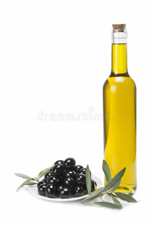 Classical olive oil bottle. stock photo