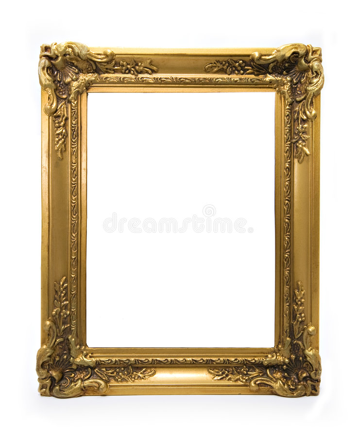 Classical Ornamented Golden Frame. Classical ornamented golden fame isolated on white stock image