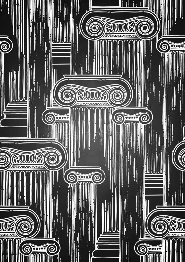 Classical pattern of ancient columns drawn in engraving technique. Classical design with ancient ionic order columns. Vector seamless pattern in engraving stock illustration