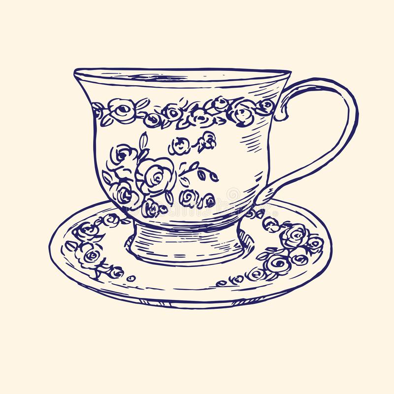 Classical porcelain cup and saucer with roses and leaves ornament, hand drawn doodle, simple sketch in pop art style, vector stock illustration