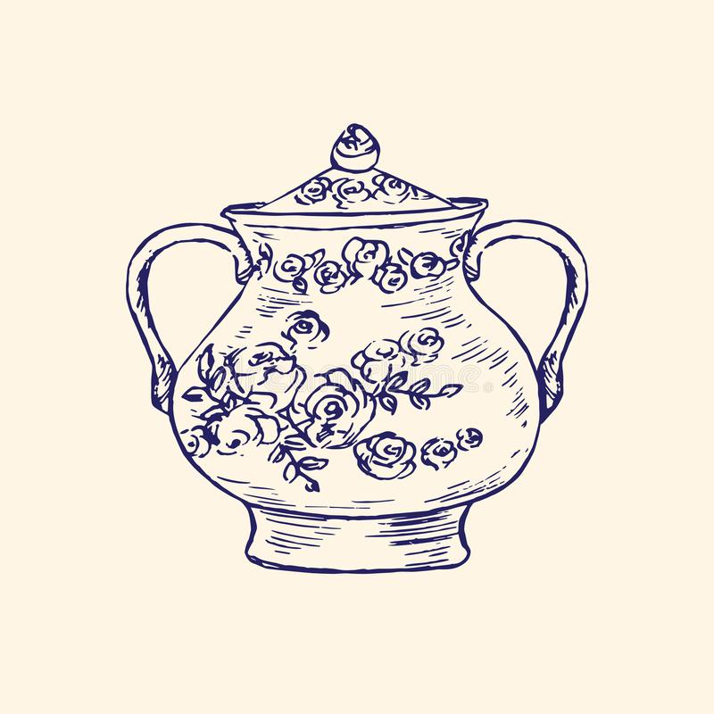 Classical porcelain sugar bowl with roses and leaves ornament, hand drawn doodle, simple sketch in pop art style, vector vector illustration