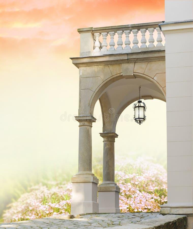 Classical portal with columns and garden. Classical portal with columns in the secret garden stock photos