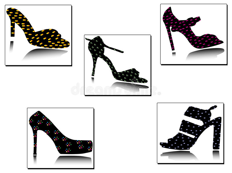 Classical shoes silhouettes with geometrical deta stock images