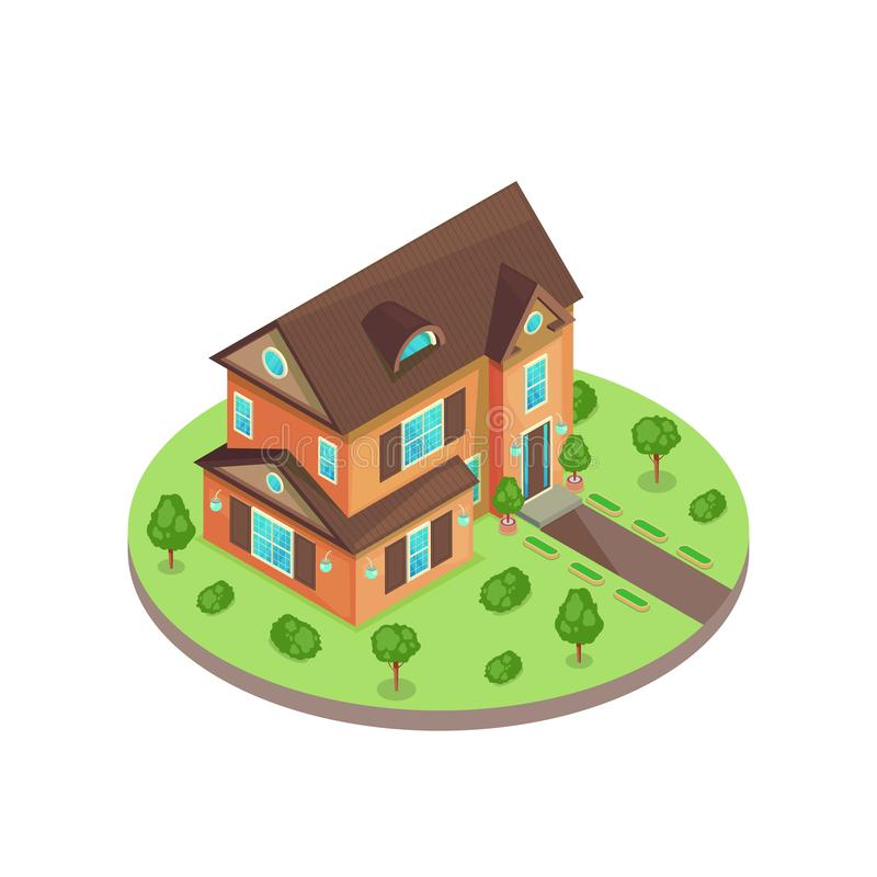 Classical two stories 3d isometric style residential house in green yard. Vector isolated illustration. Real estate icon vector illustration
