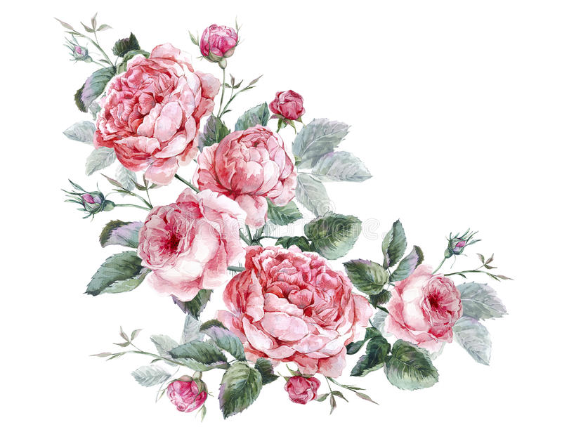 Classical vintage floral greeting card, watercolor stock illustration