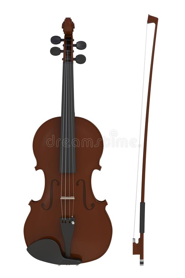 Classical violin with bow isolated on white background, String instrument. 3d rendering royalty free illustration