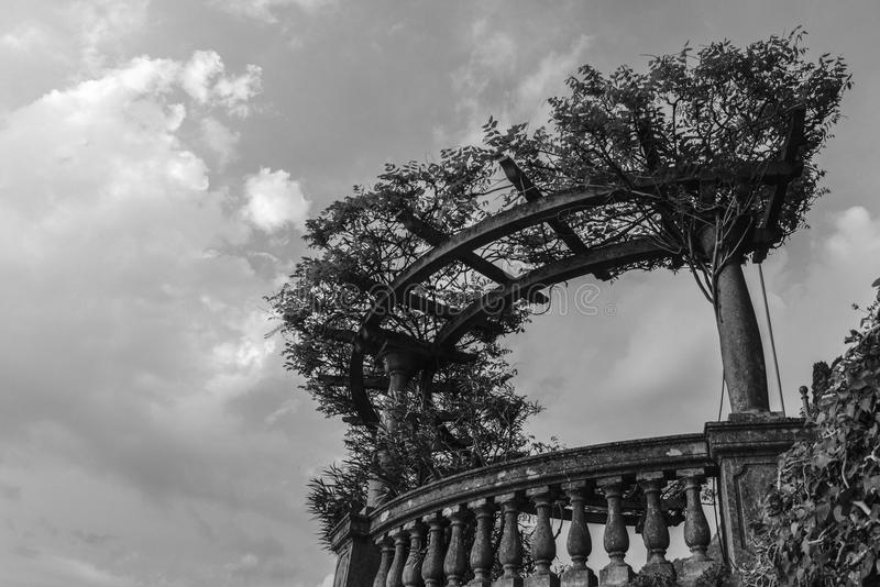 Classical vista point in Italian garden with blue sky and copy space, monochrome. royalty free stock photography