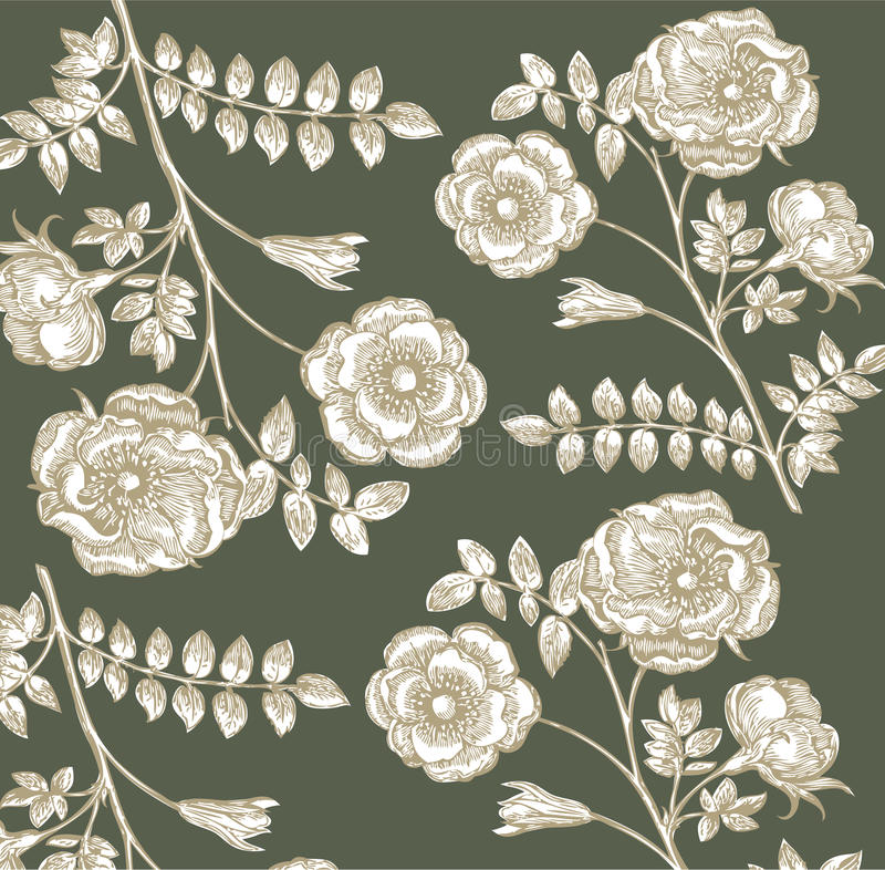 Classical wall-paper with a flower pattern. stock illustration