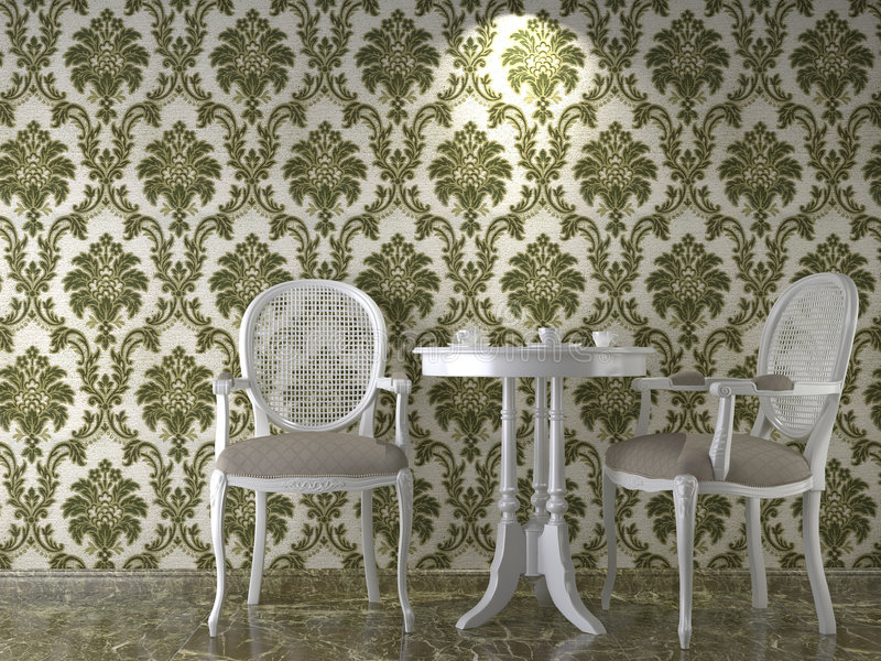 Classical wallpaper interior stock illustration