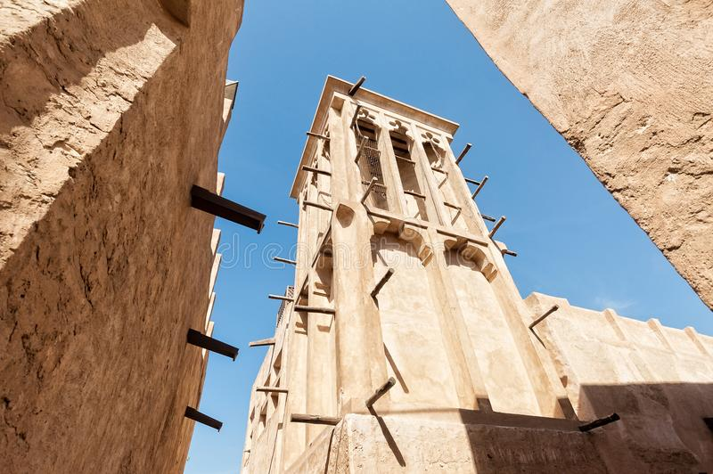 Old Dubai with classical wind tower stock photo