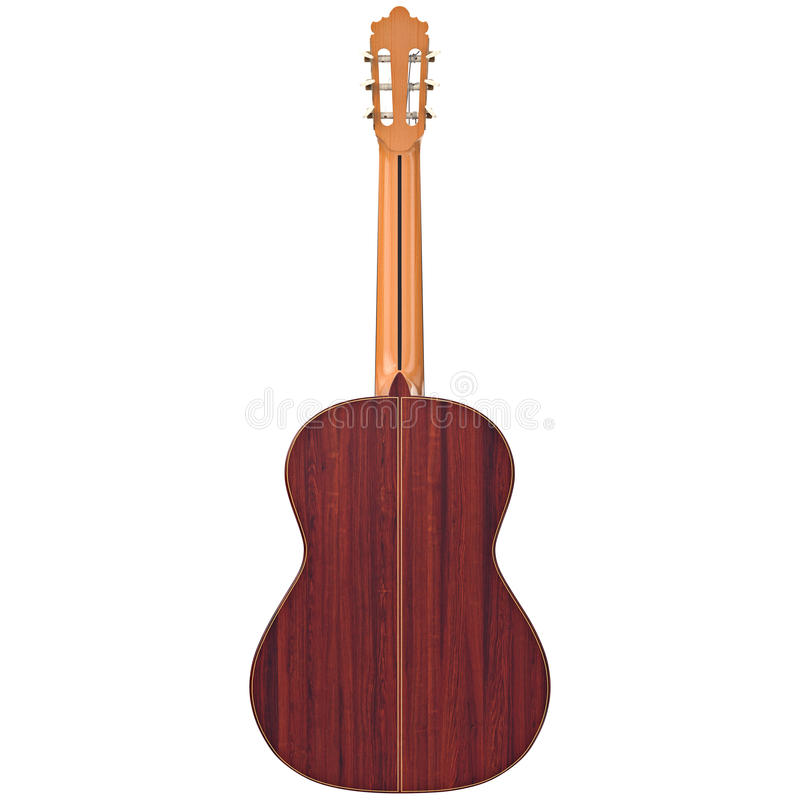 Classical wooden guitar, back view stock illustration