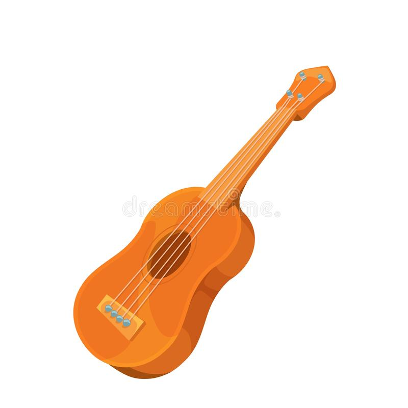 Classical wooden guitar vector illustration