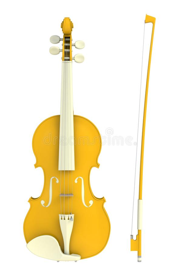 Classical yellow violin with bow isolated on white background, String instrument. 3d rendering stock illustration