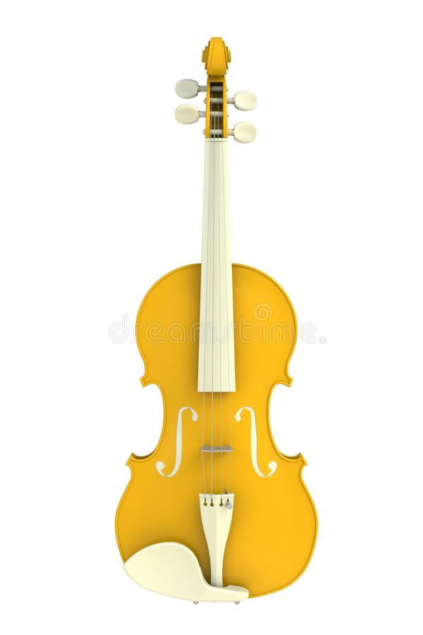 Classical yellow violin isolated on white background, String instrument. 3d rendering vector illustration