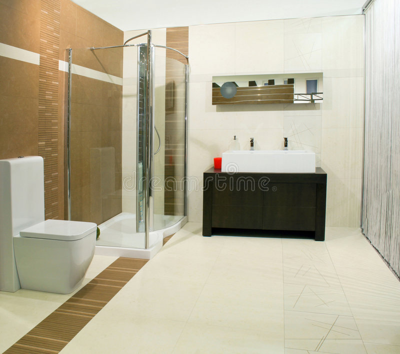 Classics bathroom. With glass shower and big basin royalty free stock photos