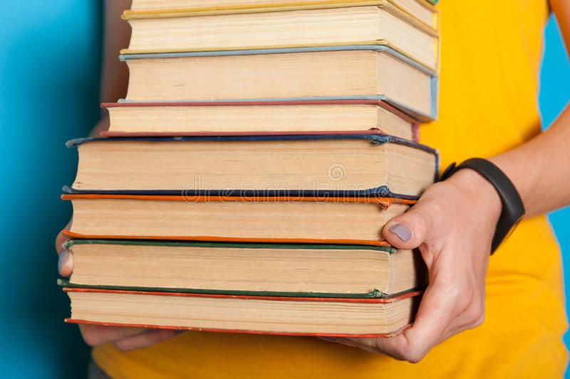 Classics collection, book stack, pile. Bookshelf education concept.  royalty free stock image