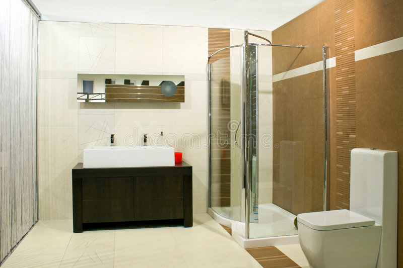 Classics shower. Classics bathroom with glass shower and big basin stock images