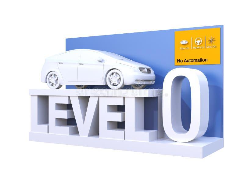 Classificação autônoma do carro do nível 0 ilustração do vetor