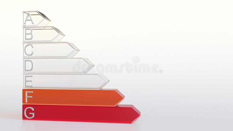 Classificação ou avaliação do uso eficaz da energia Rendição da carta 3D da classe F foto de stock