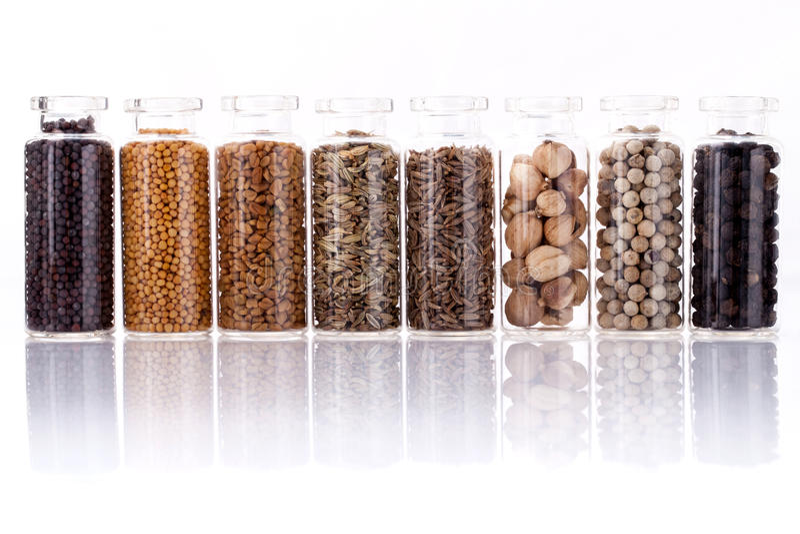 Classificado da especiaria engarrafa o condimento foto de stock royalty free