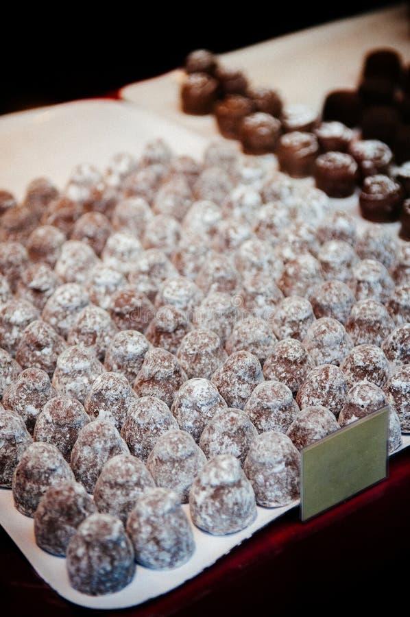Classificado de trufas de chocolate suíças na bandeja branca imagens de stock royalty free