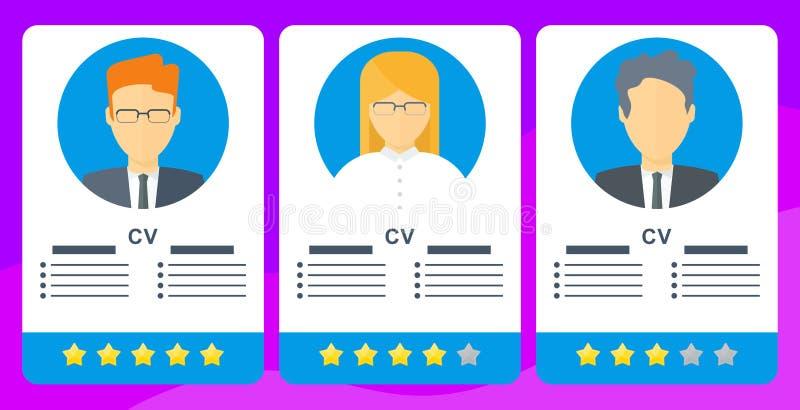 Classificatie van kandidaten voor vacature Mobiele toepassing voor baanonderzoek stock illustratie