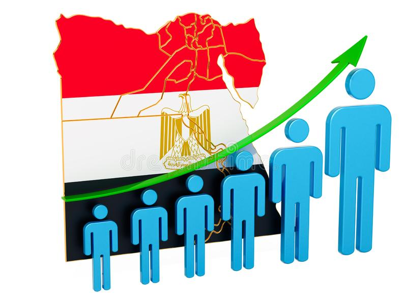 Classificatie van werkgelegenheid en werkloosheid of mortaliteit en vruchtbaarheid in Egypte, concept het 3d teruggeven vector illustratie