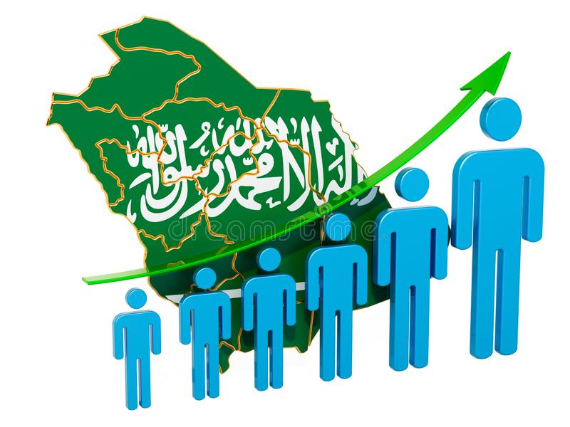 Classificatie van werkgelegenheid en werkloosheid of mortaliteit en vruchtbaarheid in Saudi-Arabië, concept het 3d teruggeven royalty-vrije illustratie
