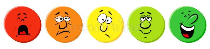 Classificatiepictogrammen met emotionele gezichten stock illustratie