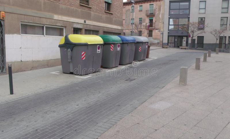 Classification points and waste collection in a street in Lleida, in Spain royalty free stock images