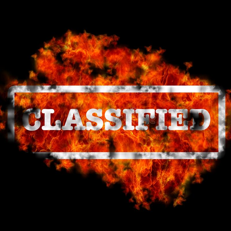 Classified. Illustration with classified word burning on black background stock illustration